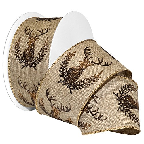 morex-ribbon-764460-20-004-polyester-hunters-crest-ribbon-2-1-2-x-20-yd-natural