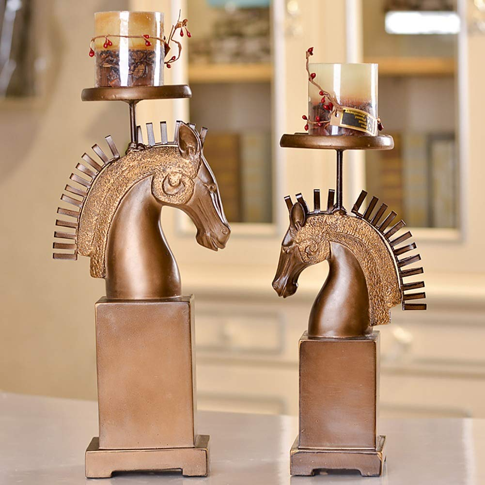 XiYunHan Horse Head Candle Holders Decoration Retro Resin Crafts Manual Production American Rural Bracket Romantic Western Desktop International Wind Study Candle Cup Display Stand Two-Piece Set