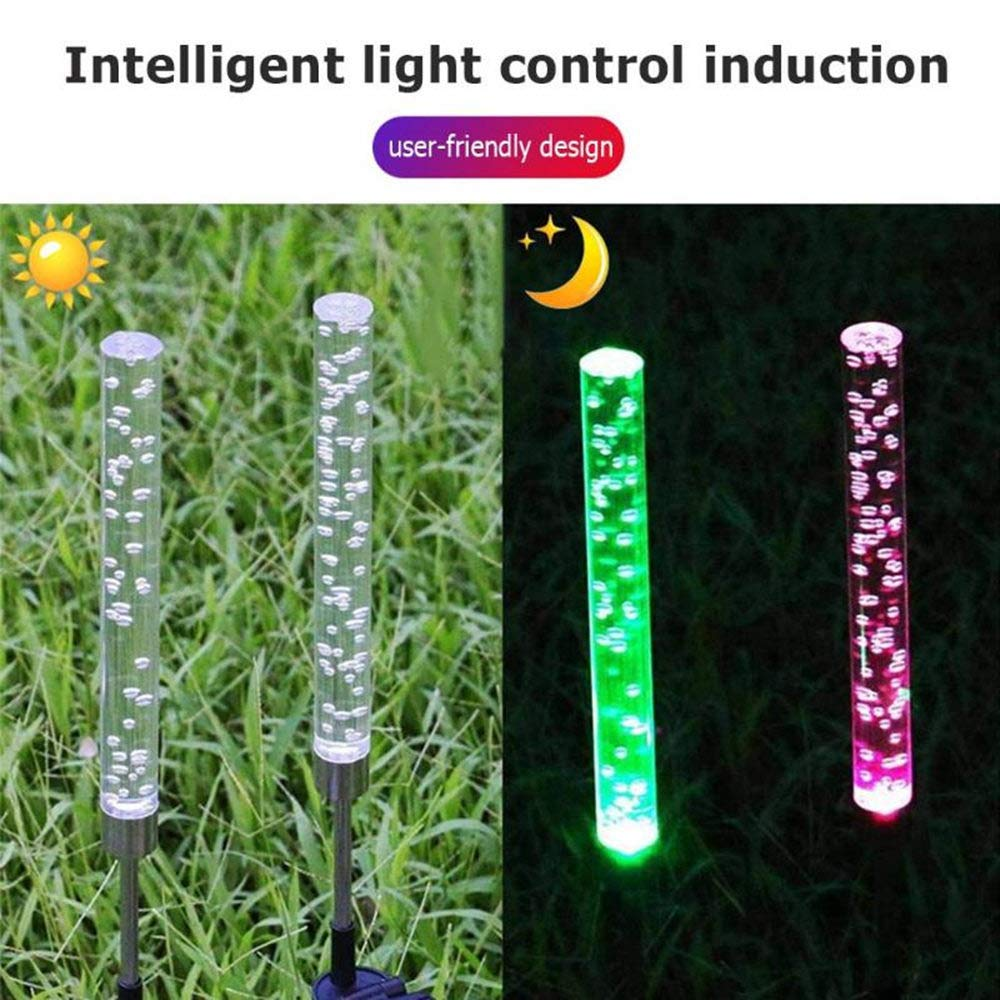 EOYIZW Solar Color Changing Lights Garden Stake Solar Powered Lights Bubble Tube Acrylic RGB Waterproof Outdoor Landscape Lights for Garden Backyard Lawn Pathway Patio Decoration 2 Pack