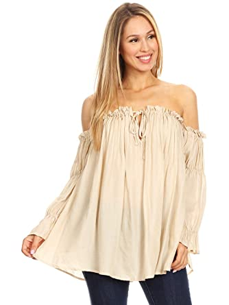 bc30051d49c10d Anna-Kaci Womens Semi Sheer Boho Peasant Long Sleeve Off the Shoulder Top