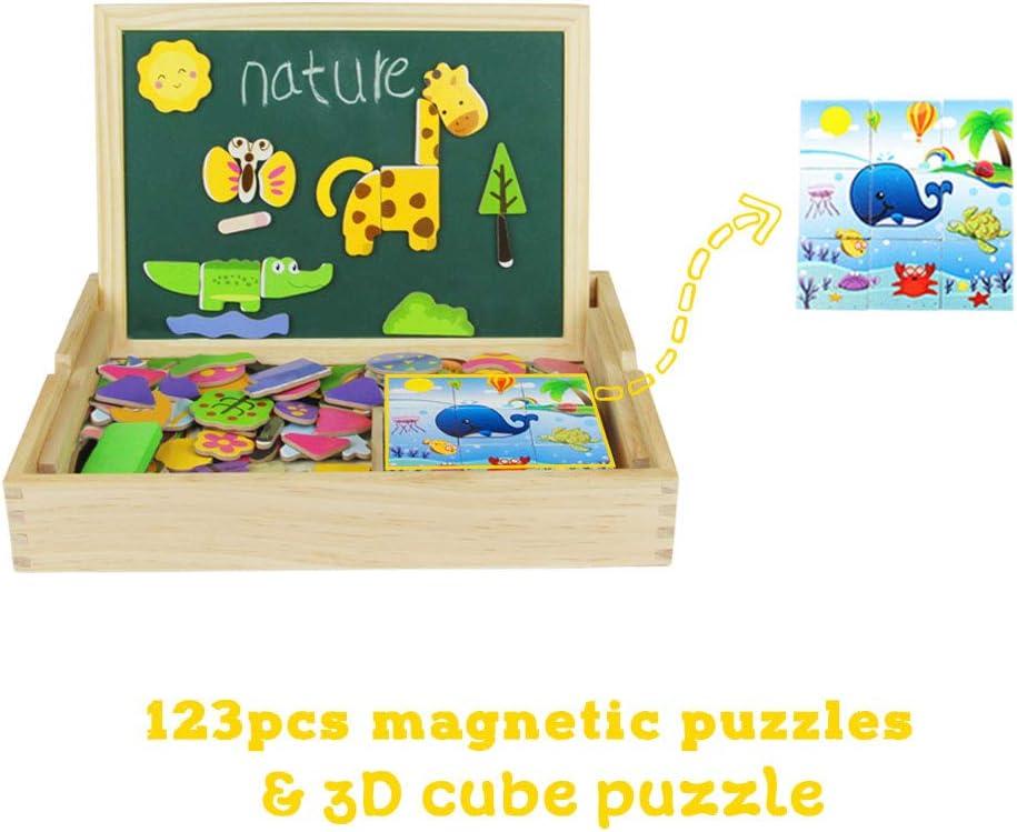 Pizarra Magnética Infantil - Juguete de Madera Portátil 123 pcs Puzzle Madera Rompecabezas Magnético con 9pcs Cubos de Madera - Juguetes Educativos Tablero de Dibujo de Doble Cara para Niños 3+: Amazon.es: Hogar