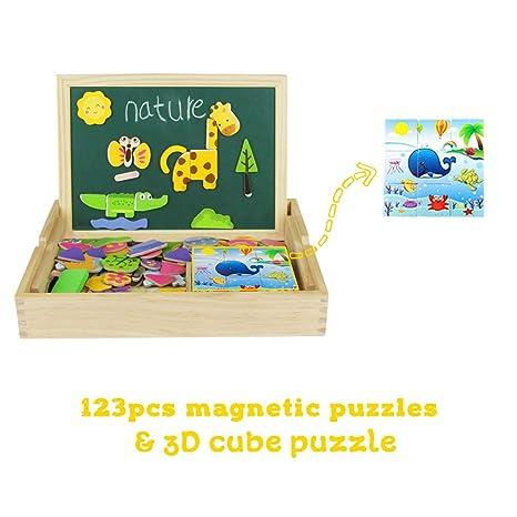 Pizarra Magnética Infantil - Juguete de Madera Portátil 123 pcs Puzzle Madera Rompecabezas Magnético con 9pcs Cubos de Madera - Juguetes Educativos ...