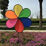 Upupo Best Selling Colorful Pinwheel, Black Letterboxing Fabric Windmill Toy for Kids, Wind Spinner of Party Yard Garden Decoration (5, 6 Blade Pinwheel)