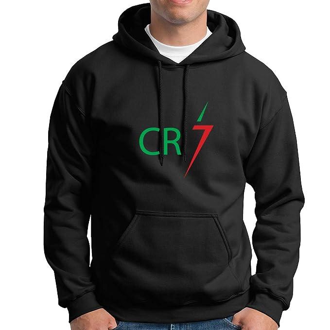 JEMASHOP Sudadera con Capucha Negra Inspirada EN Cristiano Ronaldo. CR7. Logo 4. Portugal
