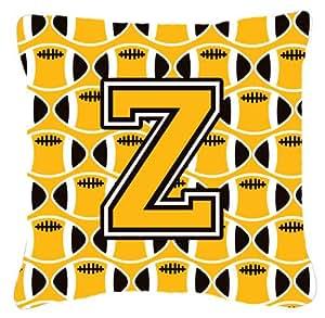"""Caroline tesoros del cj1080-zpw1414letra Z de fútbol negro, Old dorado y blanco tejido decorativo almohada, 14""""H x 14"""" W, multicolor"""