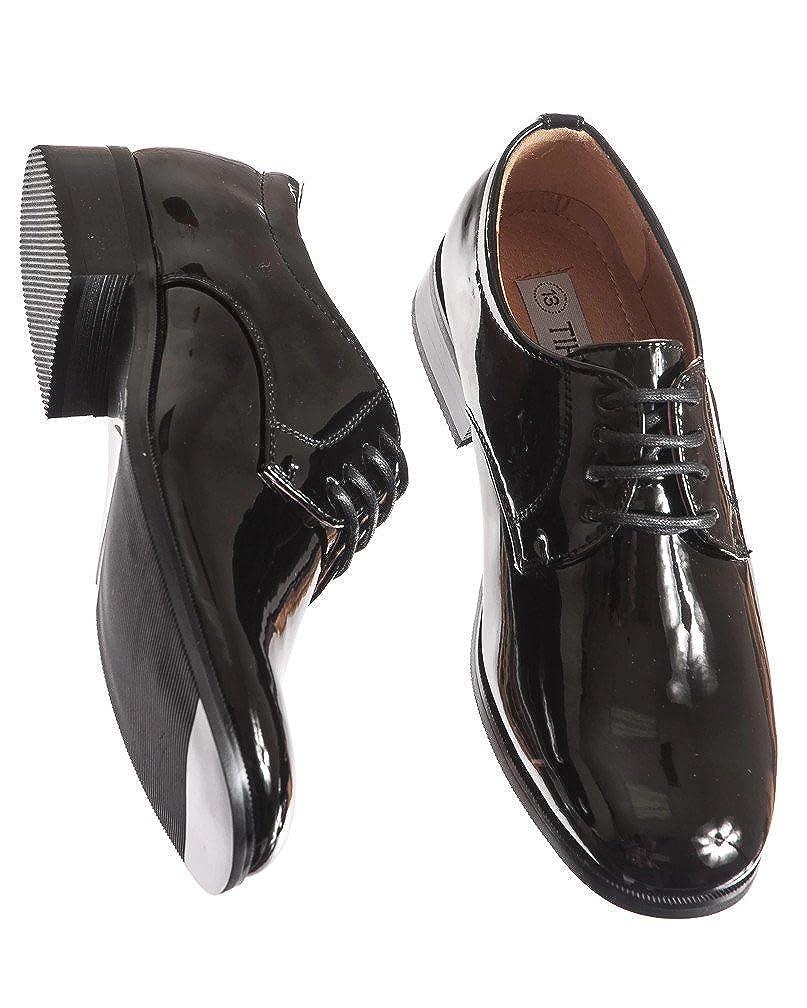 Round Toe Style in Infant to Boys Sizes Boys Shiny Black Tuxedo Shoes