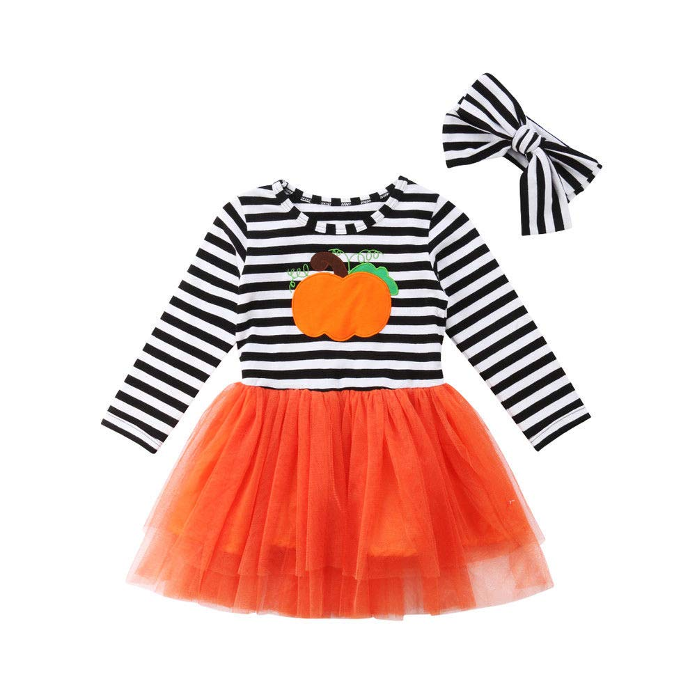 Toddler Girl Halloween Costumes Long Sleeve Pumpkin Striped Tulle Dress Skirts Headband Outfits Sets xiaodriceee