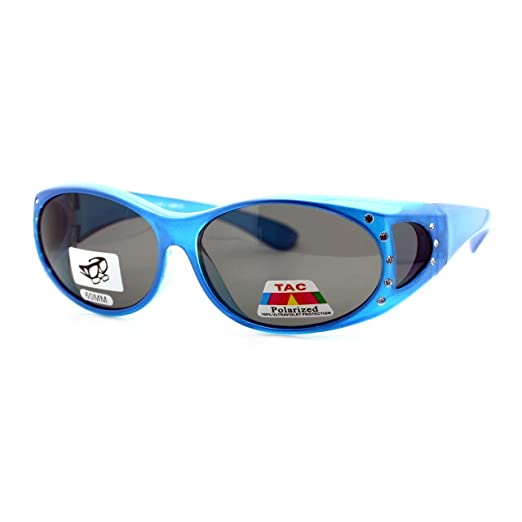 c16bec859 Polarized Lens Fit Over Glasses Sunglasses Womens Oval Frame Rhinestones  (blue, black)