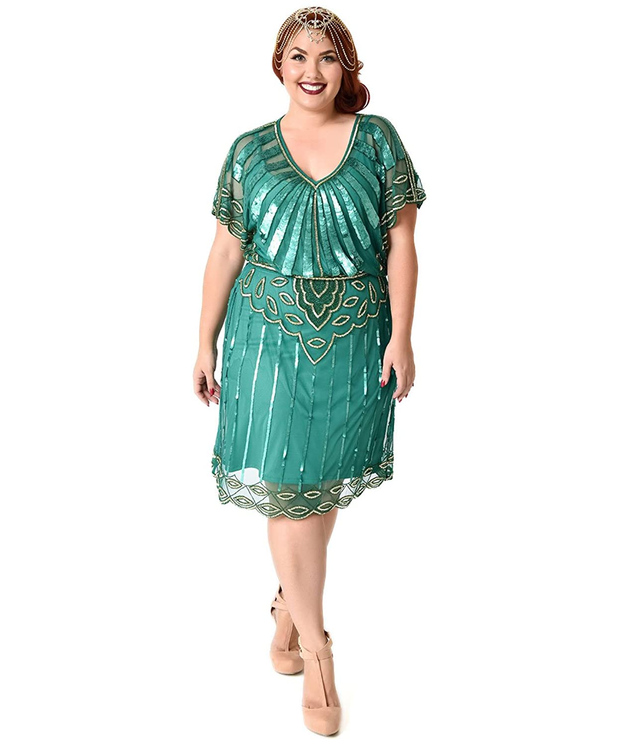 Plus Size 1920s Style Champagne Beaded Deco Feather Fringe Marilyn ...