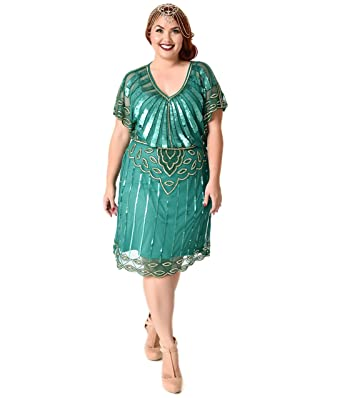 Plus Size 1920s Emerald Gold Beaded Deco Angel Sleeve Flapper