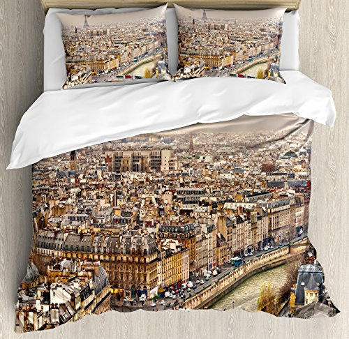 Eiffel Tower Duvet Cover Set King Size by Ambesonne, Paris Streets Busy Day Buildings Bridge River City Symbol Horizon Photography Print, Decorative 3 Piece Bedding Set with 2 Pillow Shams, (River City Tower)