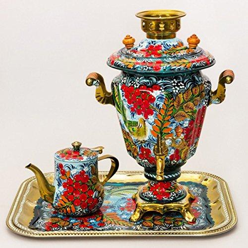 Ashberry Patterns Russian Samovar Tea Maker Set with Tray & Teapot