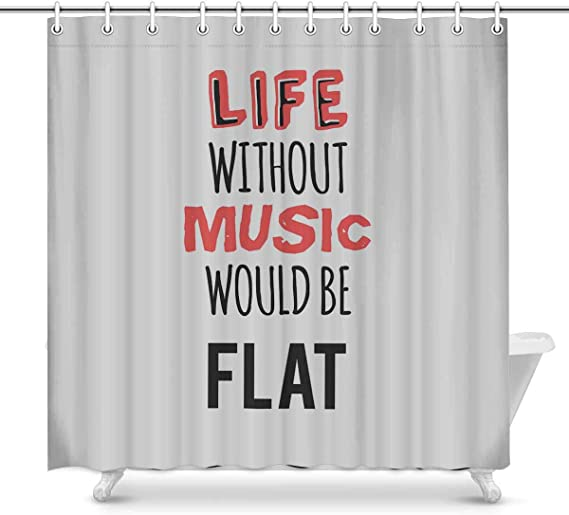 Amazon Com Interestprint Novelty Shower Curtain Bathroom Sets Life Without Music Funny Fabric Home Bath Decor 70 X 69 Inches Home Kitchen