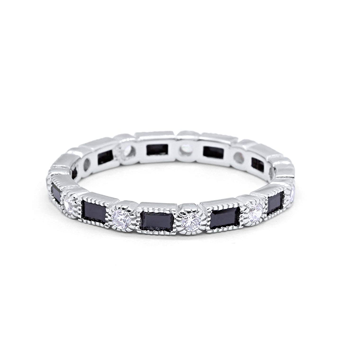 3mm Art Deco Full Eternity Wedding Band Baguette Round Cubic Zirconia 925 Sterling Silver Choose Color Blue Apple Co