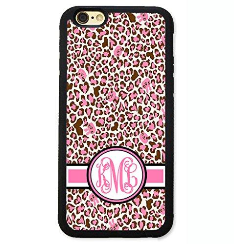 Pink Monogram Iphone (iPhone 8 Plus Case, iPhone 7 Plus Case, ArtsyCase Pink Cheetah Leopard Print Personalized Monogram Phone Case - iPhone 7 Plus and iPhone 8 Plus (Black))
