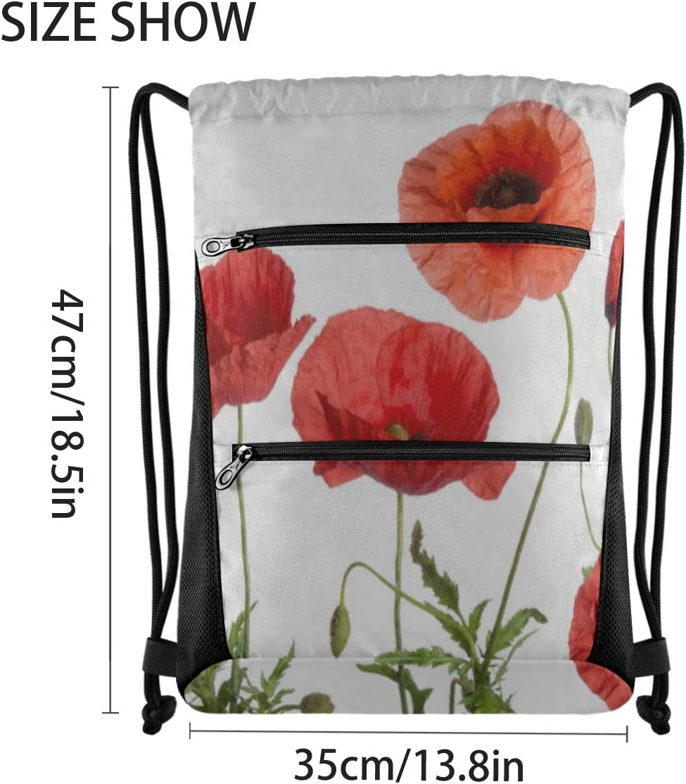 Drawstring Bags For Women Red Poppies Isolated On White Cute Backpack For Women Girl Gym Bag Lightweight With Zipper Pocket Sports Athletic School Travel Gym Cinch Sack