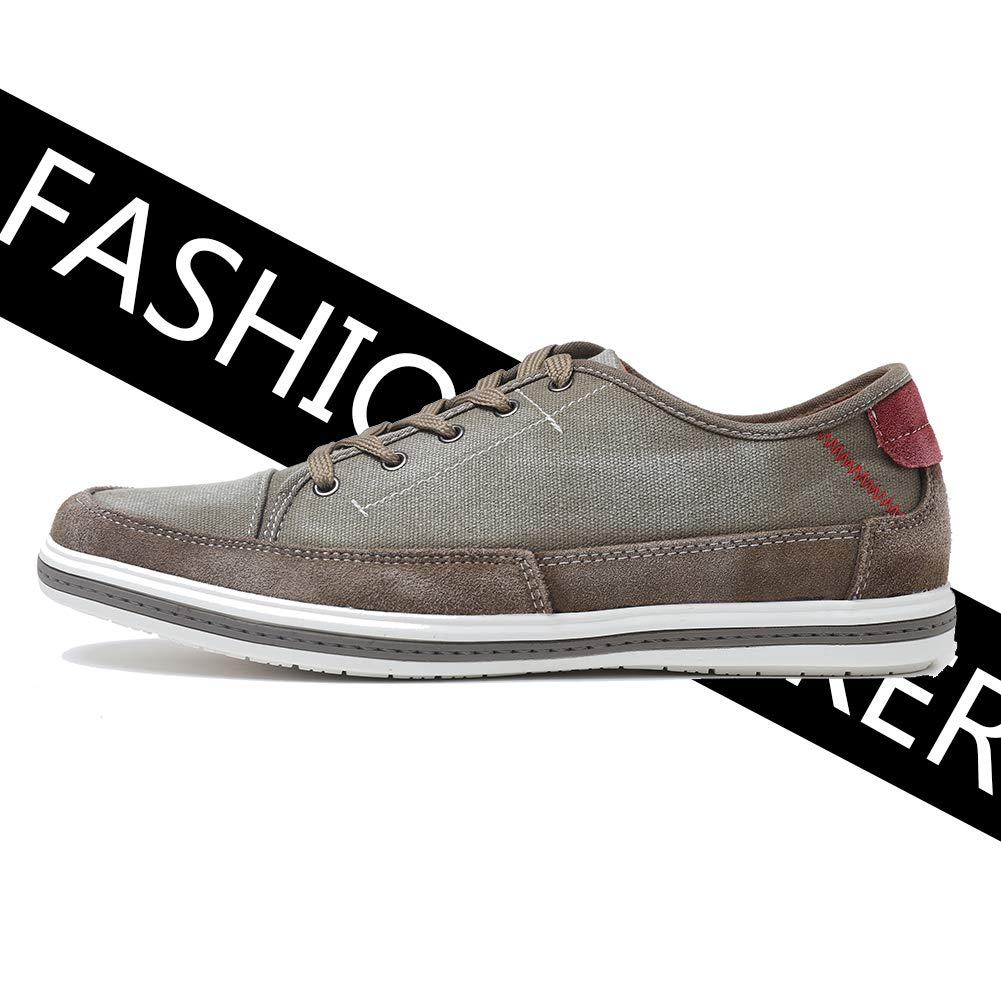 Yolkoma Mens Fashion Leather Sneakers Casual Shoes