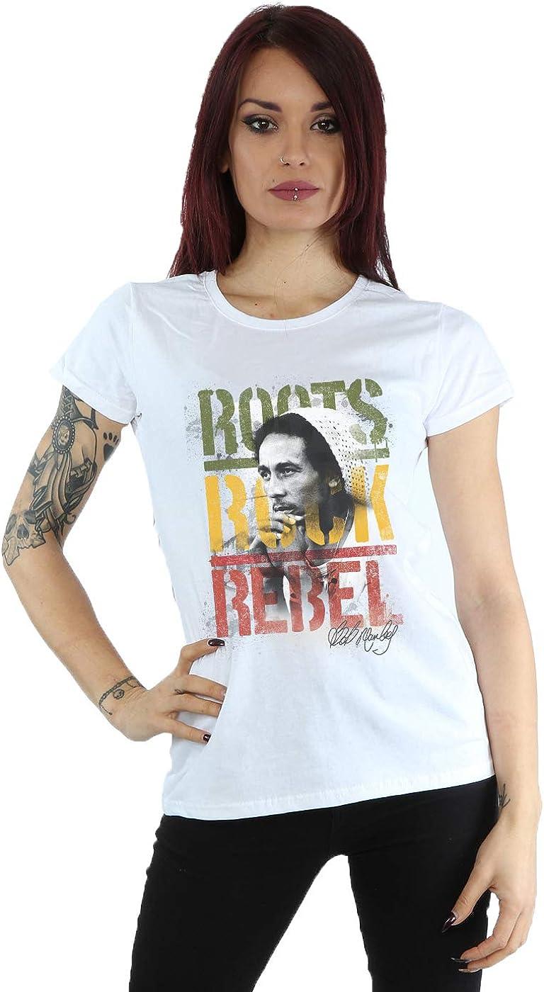 Bob Marley mujer Roots Rock Rebel Camiseta: Amazon.es: Ropa y accesorios