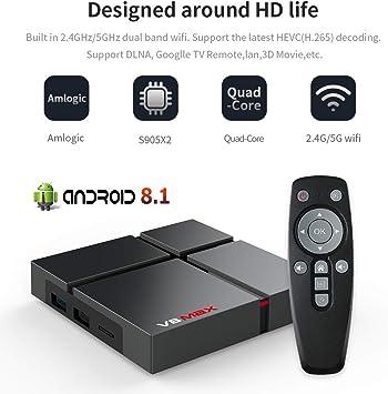V8 MAX Smart Android 8,1 TV Box, 4GB DDR3 32GB ROM Amlogic S905X2 LPDDR4 2,4G + 5G Dual WiFi BT 4,0, Quad Core 1080p 4K HDR Smart TV Media Box: Amazon.es: Electrónica