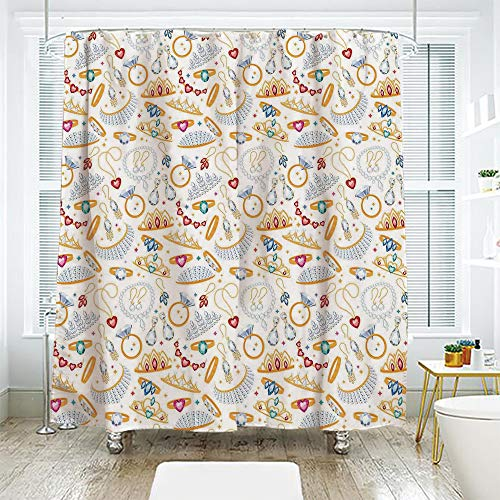 ive Bath Curtain Suit Shade Curtain,Pearls,Pattern with Accessories Diamond Rings and Earring Figures Image Digital Print Decorative,White Yellow,72