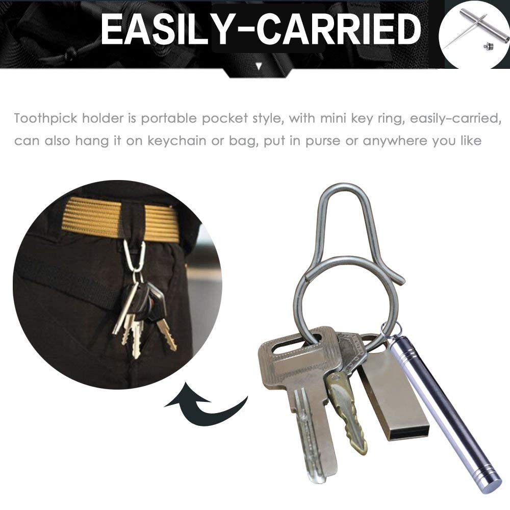 Toothpick Holder,Likorlove EDC Titanium Waterproof Titanium Toothpick + Holder Case with Key Chain Pendant for Travel Hiking Camping Outdoor