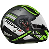 MAVOX FX30 MAXD1P 580 Full Face Helmet (Black and Green, 580 mm)