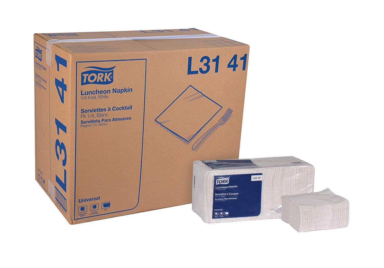 Tork Universal L3141 Luncheon Napkin, 1-Ply, 1/4 Fold, 13'' Width x 11.5'' Length, White (Case of 12 Packs, 500 per Pack, 6,000 Napkins) (2 Case)