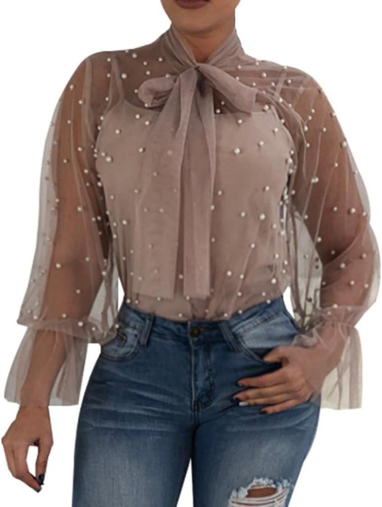 Hot Sale Kanpola - Camisa de mujer, de verano, transparente, con perlas, de manga larga. Blusa de cuello alto y con lazo. , fibra de poliéster, caqui, Tag XL/UK 12: Amazon.es: Hogar