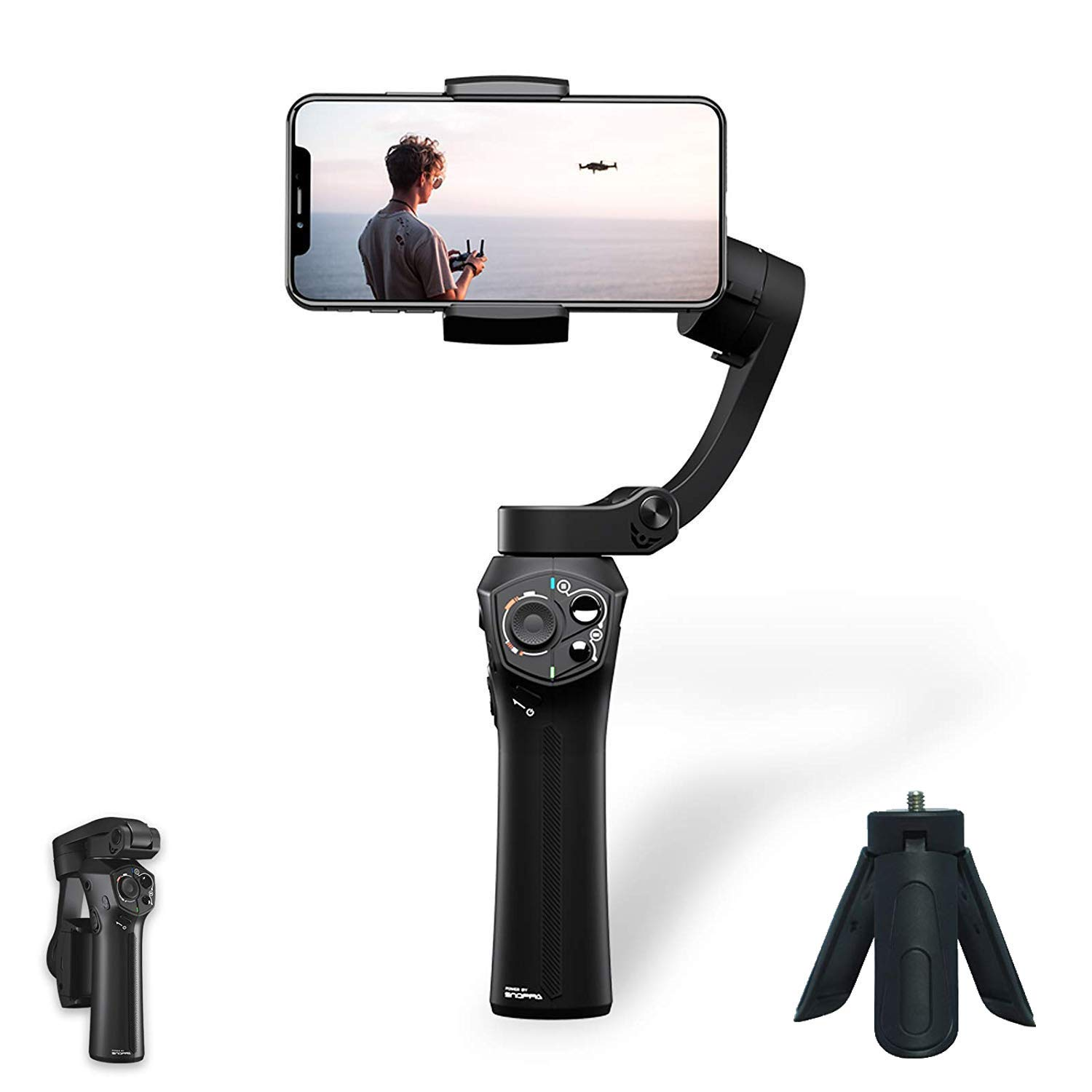 [Official Store] Snoppa Atom a Pocket Sized 3 axis Smartphone Handheld Gimbal Stabilizer w/Focus Pull & Zoom for iPhone Xs Max Xr X 8 Plus 7 6 SE Android Smartphone Samsung Galaxy S9+ S9 S8+ S8 S7 by Snoppa