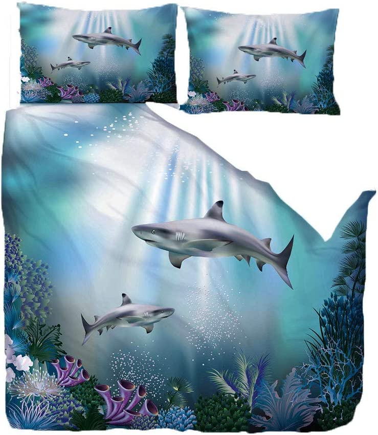 UOUL Bedding Set 3 Pieces Polyester 3D Printed Shark Pattern Includes 1 Quilt Cover 2 Pillowcases,Shark,Queen