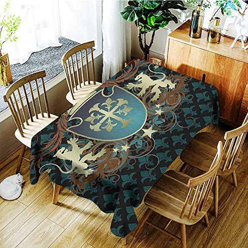 - XXANS Waterproof Table Cover,Medieval,Heraldic Design of a Middle Ages Coat of Arms Cross Crown Lions Swirls,Dinner Picnic Table Cloth Home Decoration,W60x120L Teal Black Cinnamon