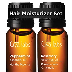 Peppermint Oil & Rosemary Essential Oil - Gya Labs Hair Moisturizer Set For Hair Growth - 100% Pure Therapeutic Grade Essential Oils Set to Boost Volume & Purify Scalp - 2x10ml