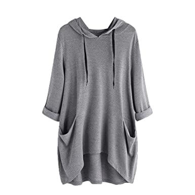 fe81d266e2b6 Amazon.com  Zainafacai Tunic Dress-Ladies Comfy Cotton Jumper Casual Loose  Hooded Pocket Pullover  Clothing