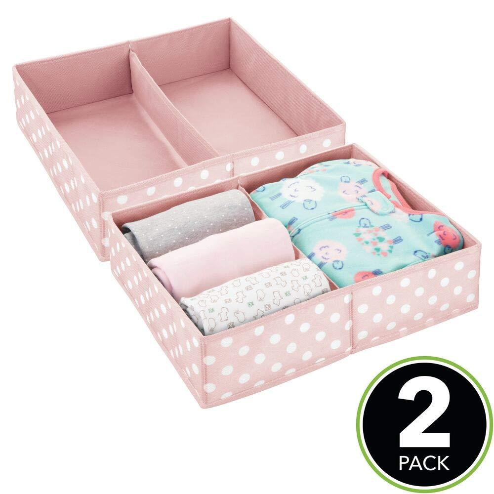 lot de 2 module de rangement en fibre synth/étique etc bo/îte en tissu avec 2 compartiments rose//blanc salle de bain pour chambre d/'enfants mDesign bo/îte de rangement