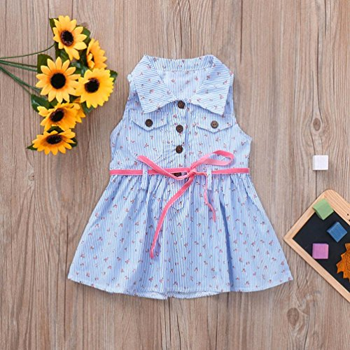 Clothes Sleeveless Kids Print Striped Dress Cotton 0 Clothes Old Cute Blue Years Striped for Baby Toddler Girls Familizo 4 Set Outfits Lovely Floral qCOIwPxnZY
