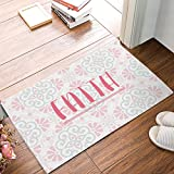 Doormat Kitchen Floor Bath Entrance Rugs Absorbent Indoor Bathroom Decor Door Mats Rubber Non Slip, 18 x 30 Inch Faith - On Pink Floral Pattern