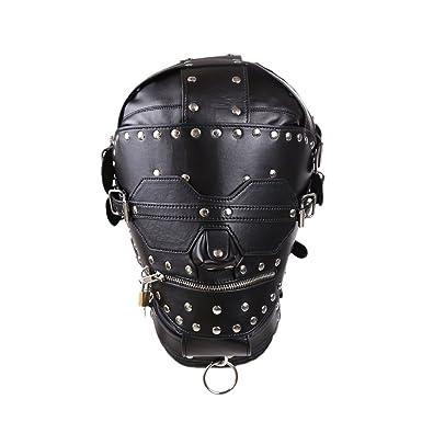 Amazon.com  FeiGu Leather Bondage Gimp Mask Head Hood Restraint ...