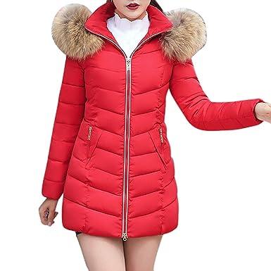 Qmber Daunenjacke Damen Mantel Ultraleicht Steppjacke Parka Winter Jacke  Mit Kapuze Outwear Daunenmantel Fellkapuze Coat Hooded Warme Steppmantel,  ... 8a5889daad
