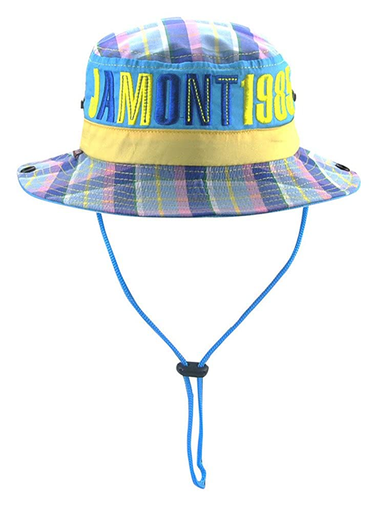 Roffatide Plaid Embroidery Boys Bucket Hat Packable Fishing Sun Hat Girls Summer Cap Kids Boonie Hat Cotton Anti UV