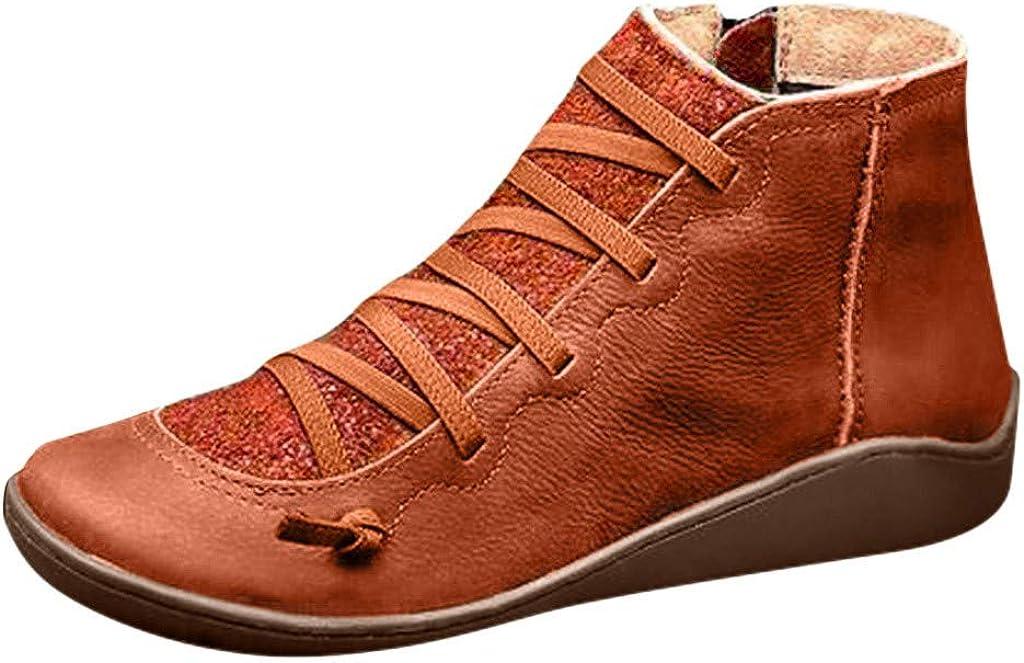 Xinantime Botines de Cuero, Botas Otoño Vintage con Cordones Retro de Cuero Plano Casual para Mujer Zapatos de Mujer Botas Cómodas de Tacón Plano Cremallera Bota Corta Botas de Nieve Impermeable