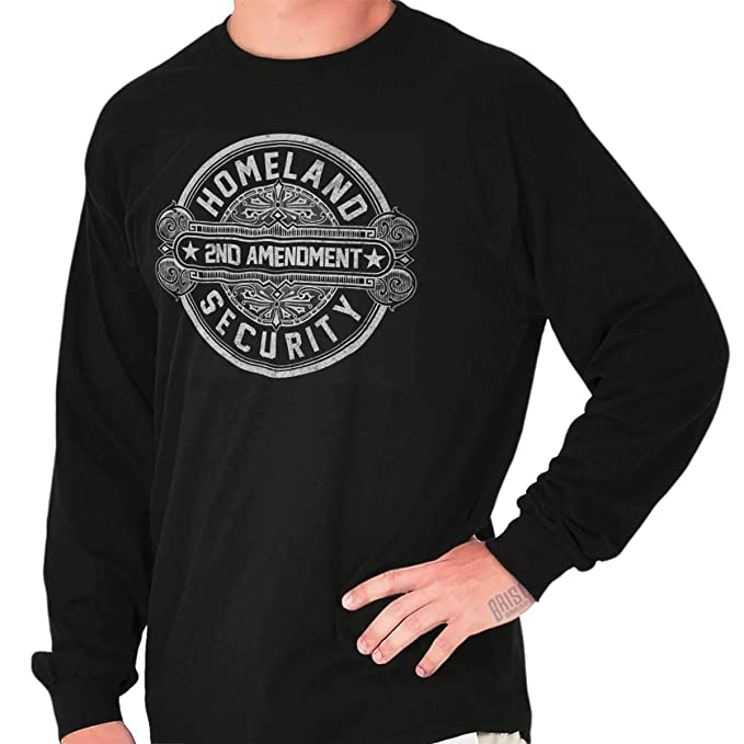 Brisco Brands Homeland Security American 2nd Amendment Long Sleeve T Shirt  Black 5bc2a0833