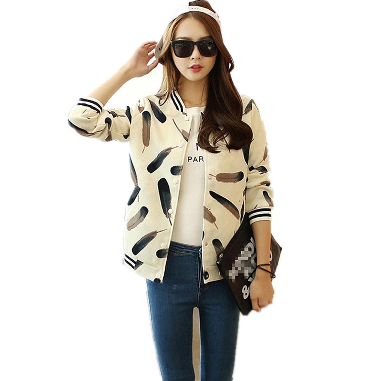 LOBTY Damen Trainingsjacke Floral Printed Kurze Jacke Frühling Langarm Zipper Blazer Mantel Outwear Trenchcoat