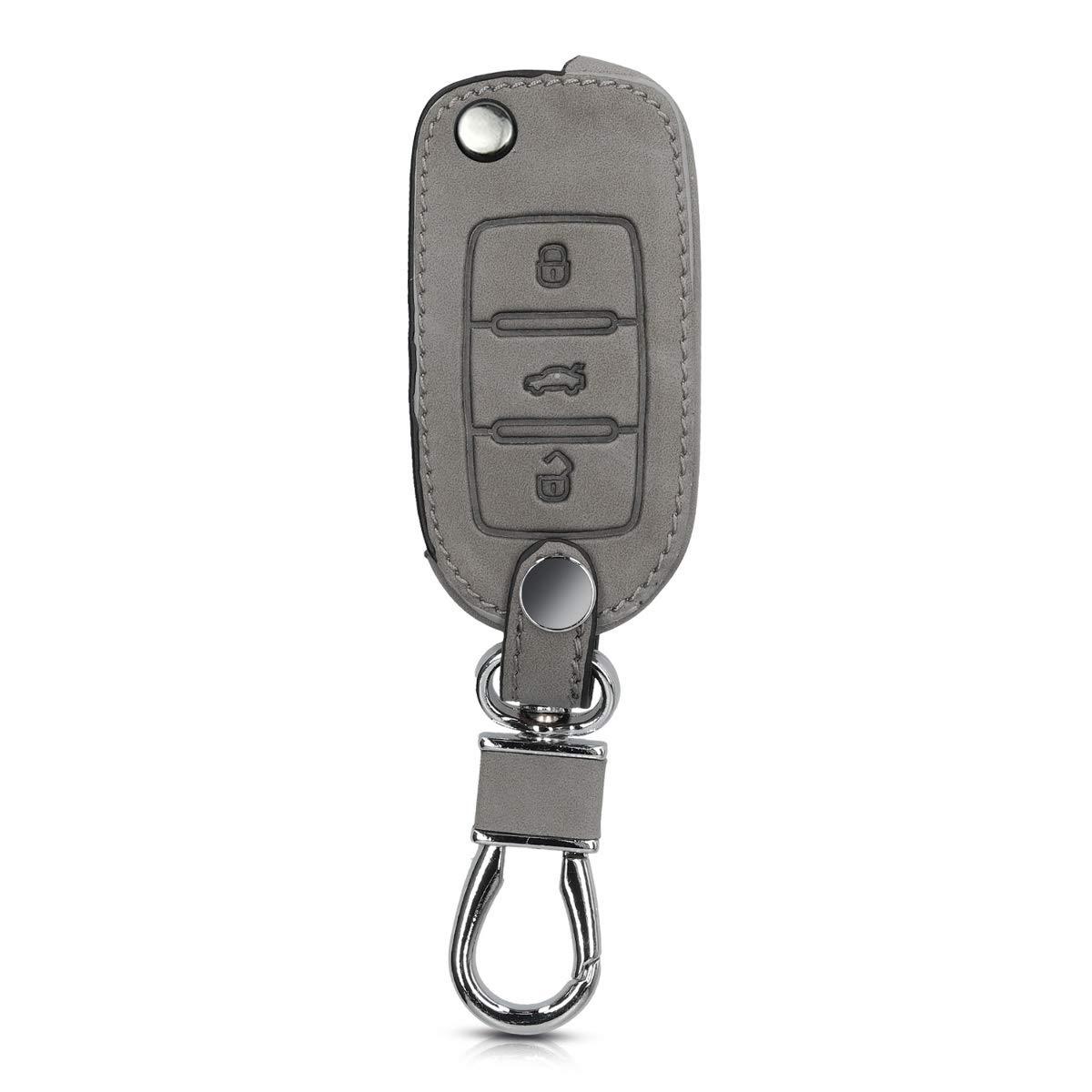 kwmobile Funda para VW Skoda Seat Gris Carcasa de Piel de Nobuck sint/ética para Mando de Coche Llave de 3 Botones para Coche VW Skoda Seat
