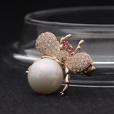 Lindo vívido perla grande insecto broche traje de las ...