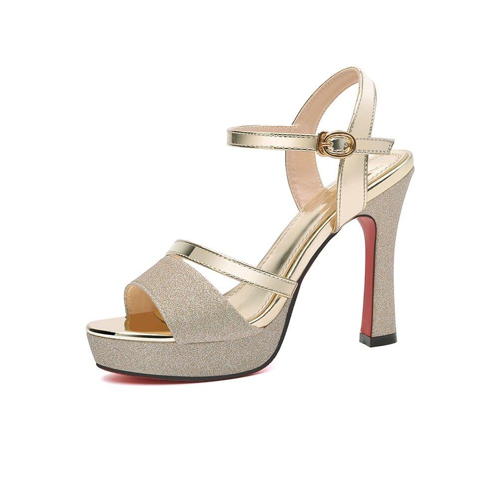 XUERUI Fisch Mund Mund Fisch Schuhe wild gut mit einem Wort Schnalle High Heels Pumps (Farbe : Gold, größe : EU36/UK4/CN36) Gold 9a7f41