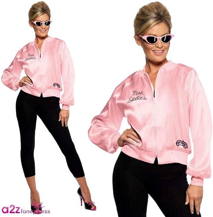 Smiffys 28385, Chaqueta de Mujer para Grease, Rosa, S (8 - 10 UK ...