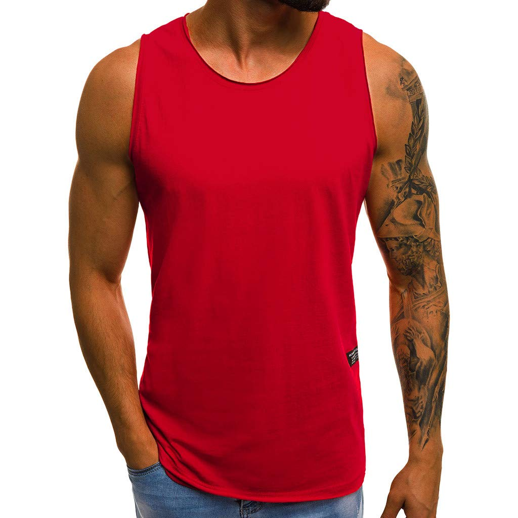 Tank Tops for Men Basic Solid Workout Casual Shirts Gym Athletic Training Sports Everyday Wear (L, Red)