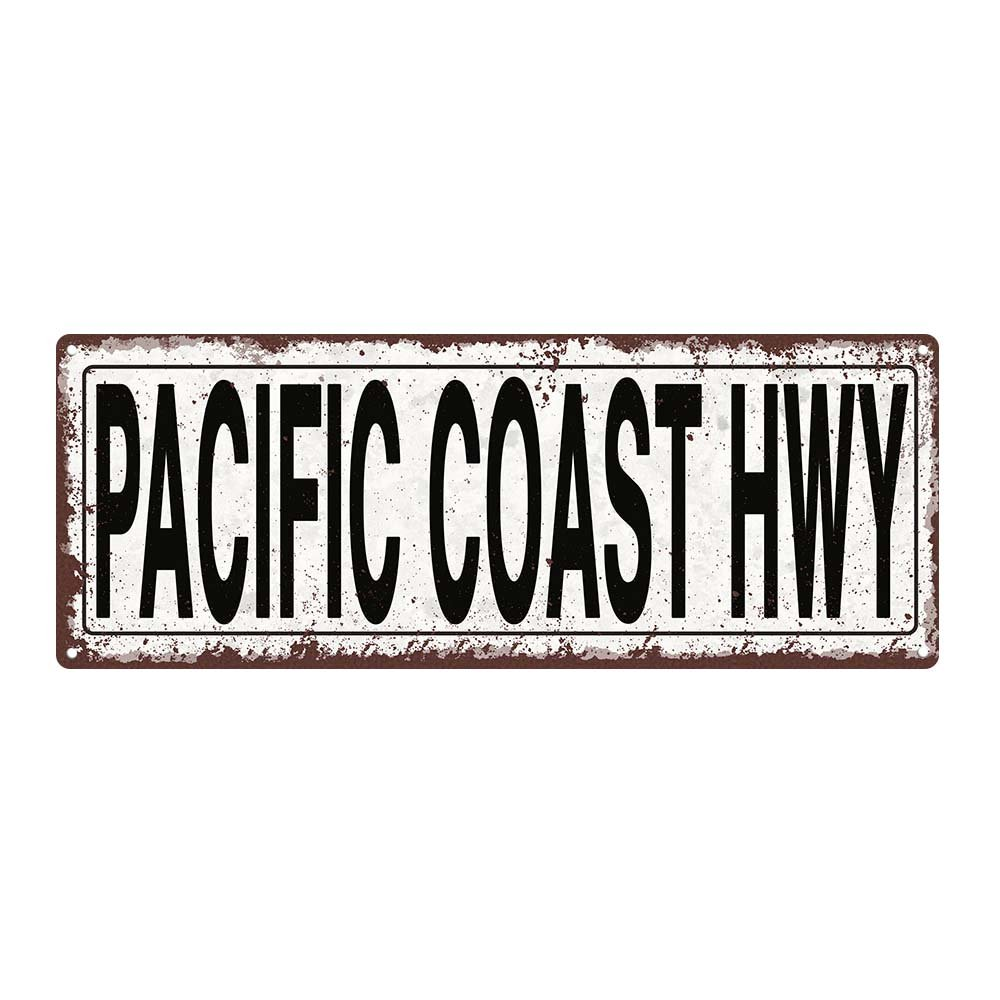 Pacific Coast Highway Metal Street Sign, Rustic, Vintage Homebody Accents TM TFD2074