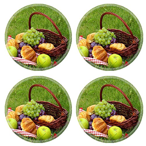 Liili Round Coasters picnic on green grass with grapes and croissants 28234423