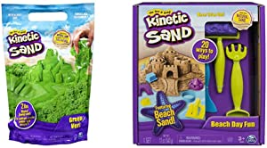 Kinetic Sand The Original Moldable Sensory Play Sand, Green, 2 Pounds & Beach Day Fun Playset with Castle Molds, Tools, and 12 oz. of Kinetic Sand for Ages 3 and Up